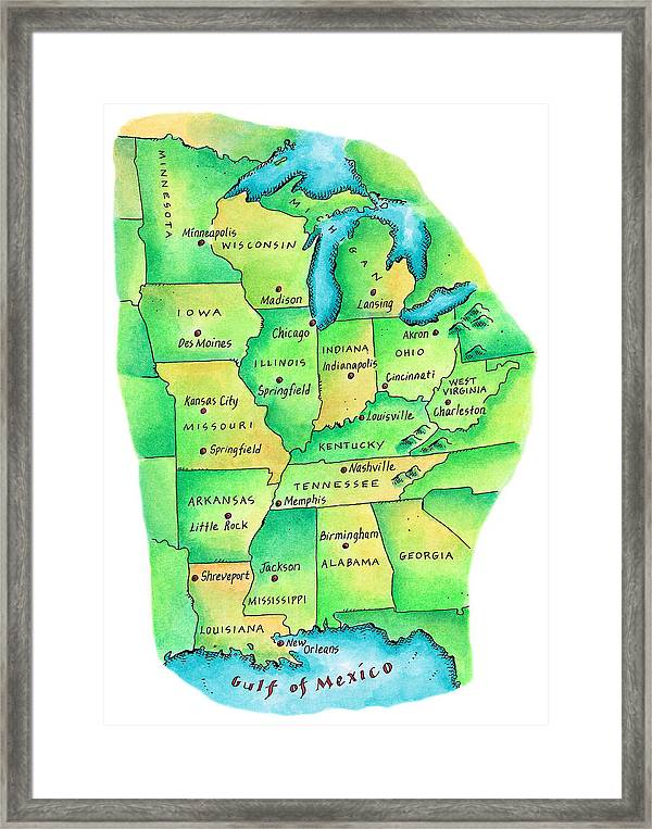 Map Of Central United States Framed Print By Jennifer Thermes