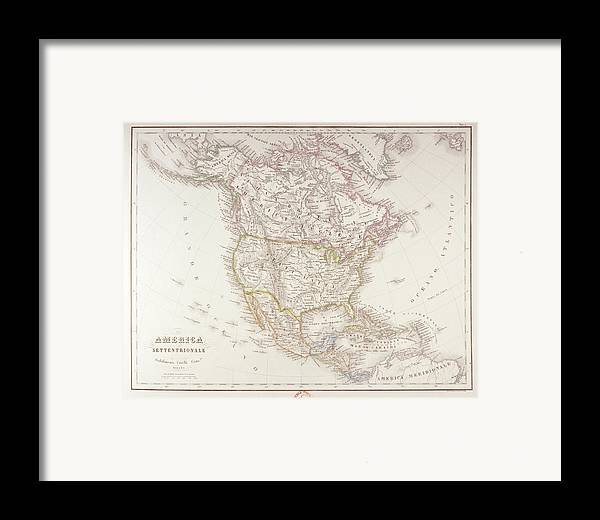 Horizontal Framed Print featuring the digital art Map Of North America by Fototeca Storica Nazionale