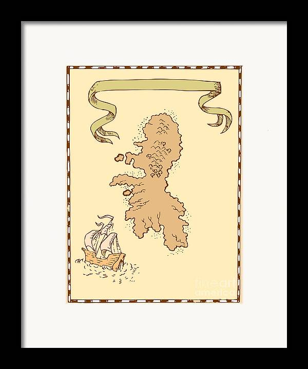 Illustration Of A Treasure Map Showing Island With Sailing Ship Galleon And Ribbon Done In Vintage Style. Framed Print featuring the digital art Map Treasure Island Tall Ship by Aloysius Patrimonio