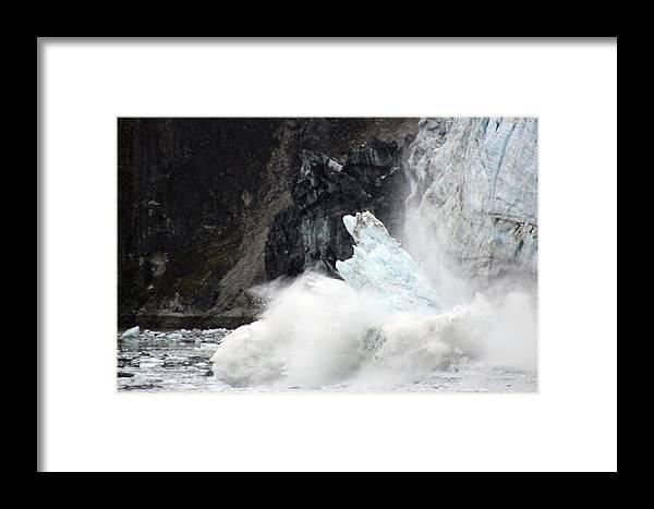 Alaska Framed Print featuring the photograph Margerie Glacier Calve by Linda ONeill