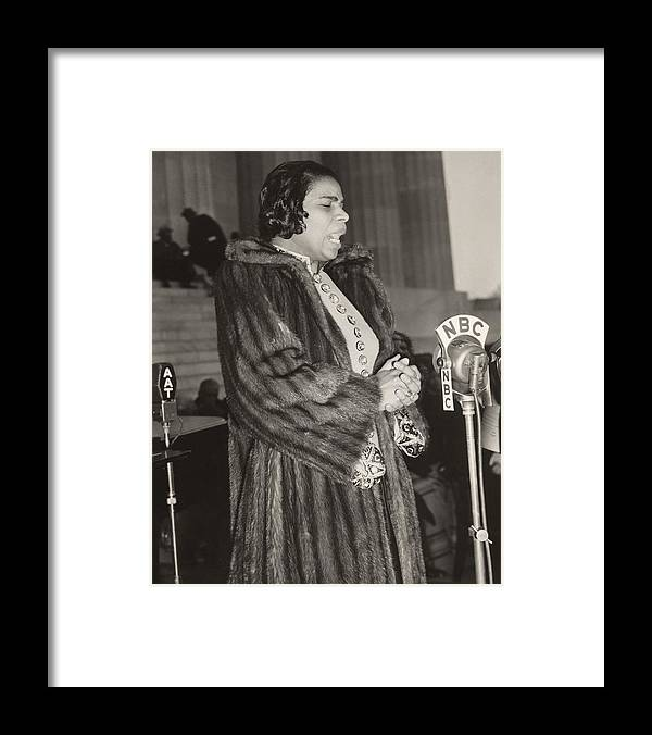 History Framed Print featuring the photograph Marian Anderson 1897-1993, At A Nbc by Everett