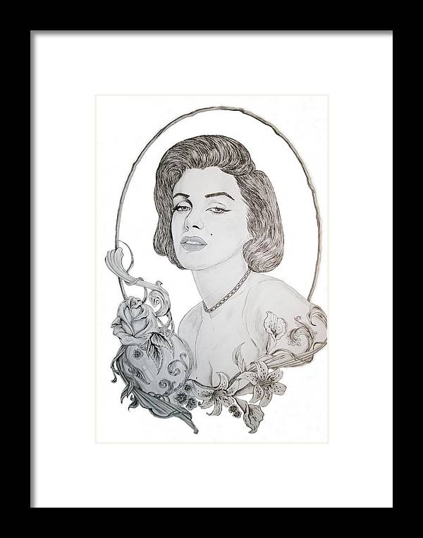 Marilyn Framed Print featuring the drawing Marilyn 2 by Kevin Wood