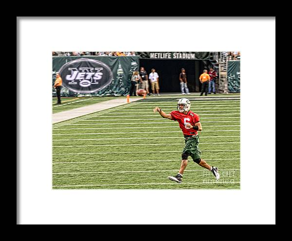 Mark Sanchez Framed Print featuring the photograph Mark Sanchez Ny Jets Quarterback by Paul Ward
