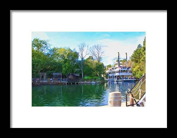 Disneyland Framed Print featuring the photograph Mark Twain Riverboat At Disneyland by Heidi Smith
