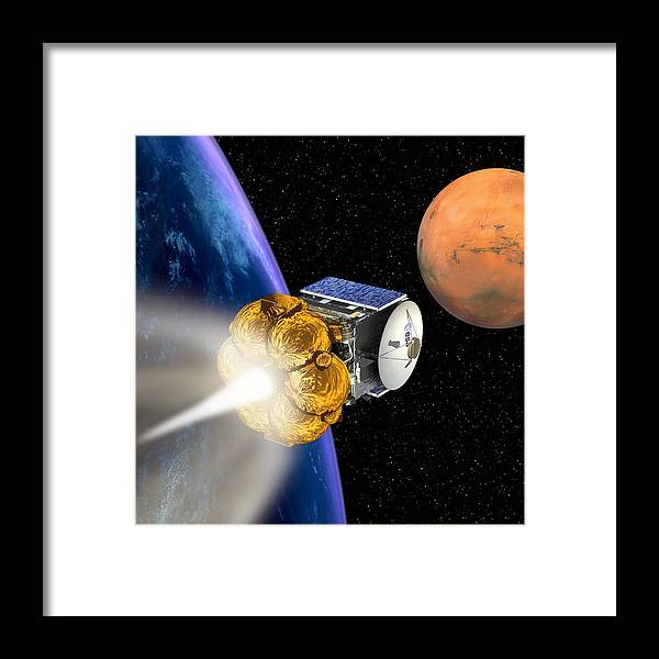 Mars Express Framed Print featuring the photograph Mars Express Booster Rocket, Artwork by David Ducros