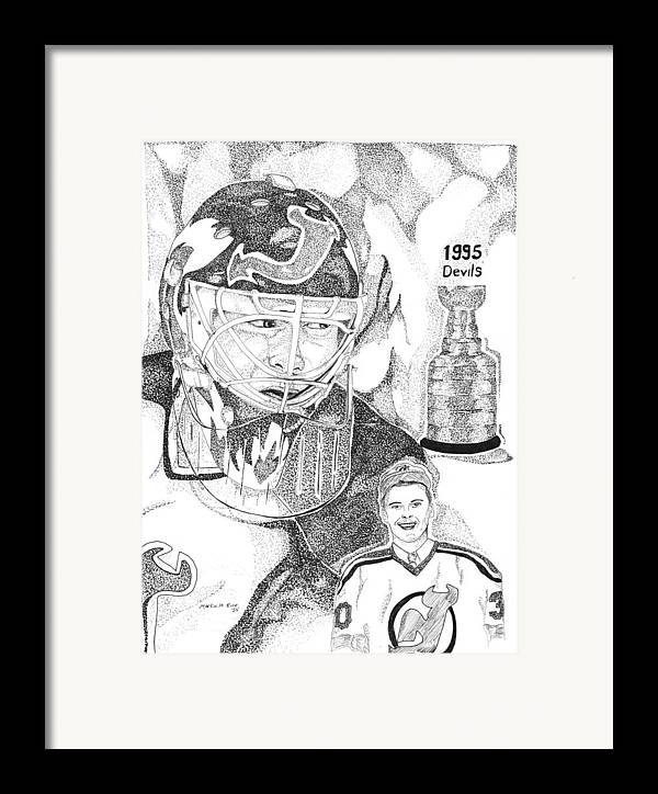 This Image Of Martin Brodeur Of The New Jersey Devils Took Over 12 Hours To Complete And Has Over 100 Framed Print featuring the drawing Martin Brodeur Sports Portrait by Marty Rice