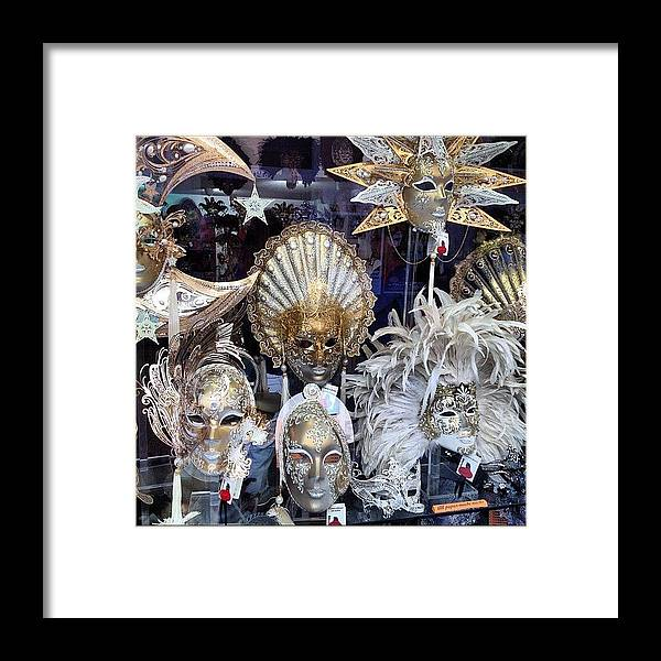 Venice Framed Print featuring the photograph Masks in Venice Italy by Irina Moskalev