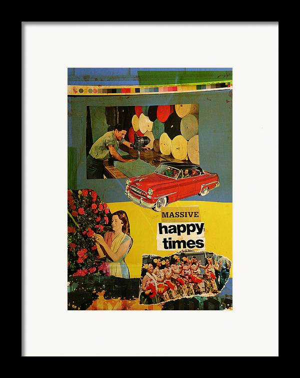 Collage Framed Print featuring the mixed media Massive Happy Times by Adam Kissel