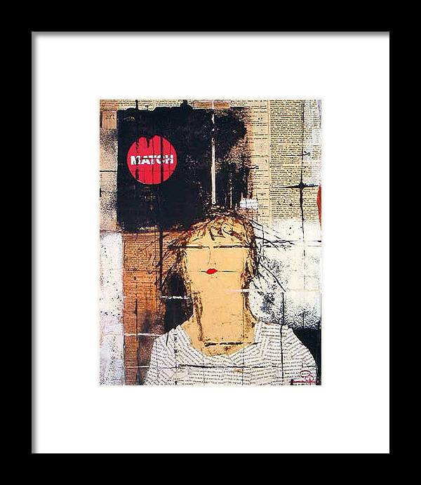 Mixed Media Framed Print featuring the mixed media Match Point by Jo Roffe