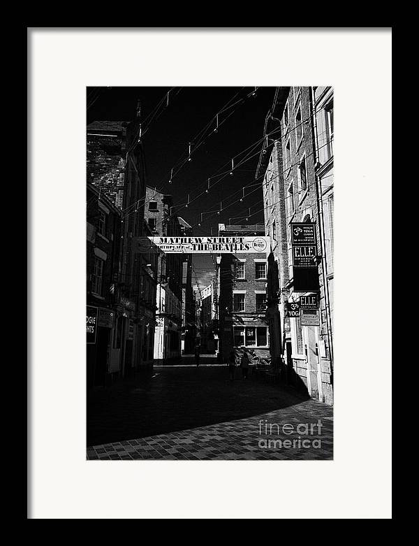 Mathew Framed Print featuring the photograph Mathew Street In Liverpool City Centre Birthplace Of The Beatles Merseyside England Uk by Joe Fox