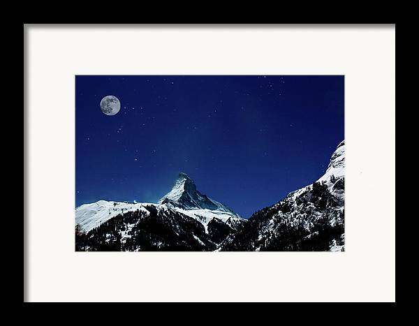 Horizontal Framed Print featuring the photograph Matterhorn Switzerland Blue Hour by Maria Swärd