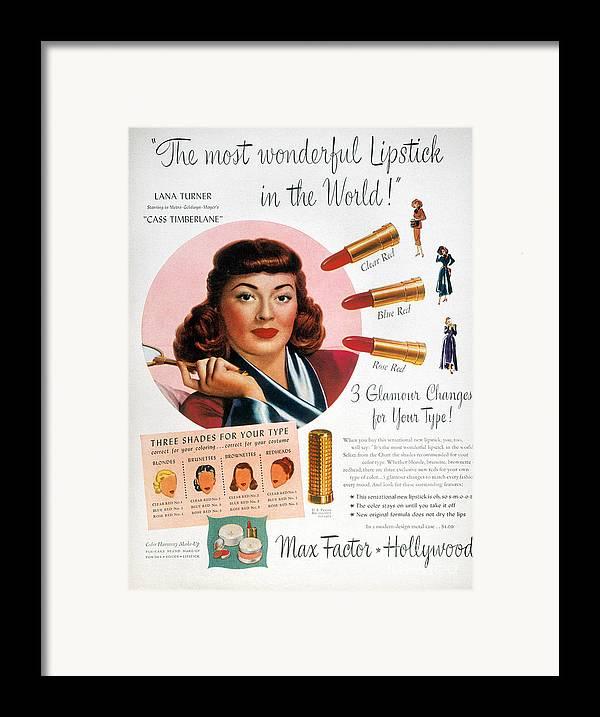 1948 Framed Print featuring the photograph Max Factor Lipstick Ad by Granger