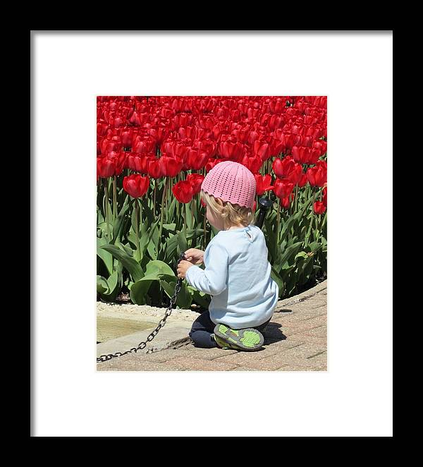 Tulips And Little Girl Framed Print featuring the photograph May Day May Day by Todd Sherlock