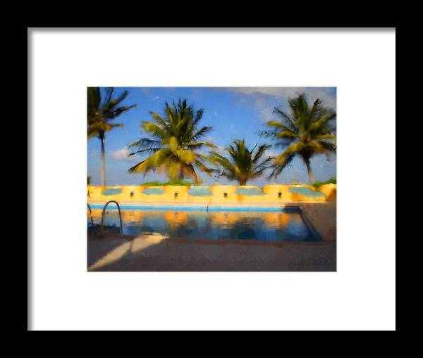 Palm Trees Mexico Pool Reflection Blue Sky Maya Framed Print featuring the digital art Maya Palms 2 by Geoff Strehlow