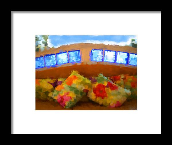 Lounge Pillows Maya Palms Pillows Colorful Mexico Framed Print featuring the digital art Maya Palms by Geoff Strehlow