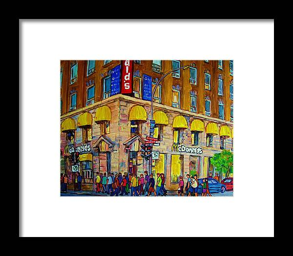 Mcdonald Restaurant Montreal Framed Print featuring the painting Mcdonald by Carole Spandau