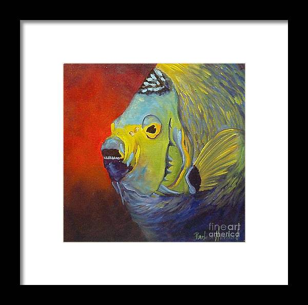 Fish Framed Print featuring the painting Mean Green Fish by Barbara Haviland