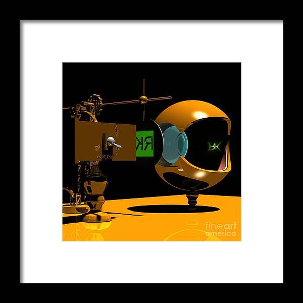 Anatomy Framed Print featuring the digital art Mechanical Oculist Green by Russell Kightley