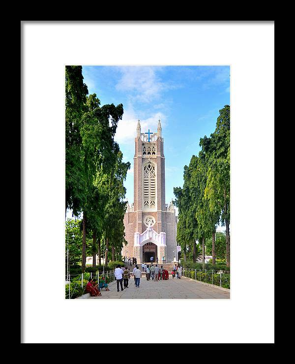 Church Trees Clouds Road Sky Cross Men Women Pilgrims Framed Print featuring the photograph Medak Church by Johnson Moya