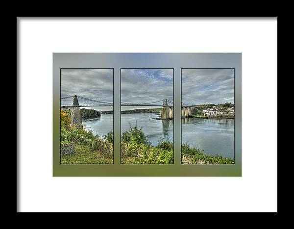 Menai Bridge Framed Print featuring the photograph Menai Suspension Bridge by Fran Walding