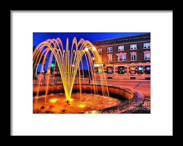 Menasha Framed Print featuring the photograph Menasha Lighted Fountain by Ever-Curious Photography