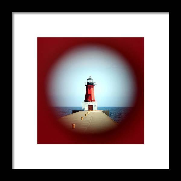 Menominee Lighthouse Framed Print featuring the photograph Menominee Lighthouse Through A Rivet Hole by Mark J Seefeldt