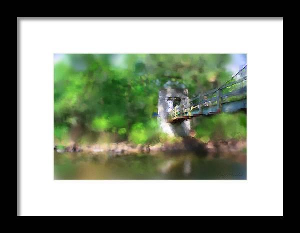 Foot Bridge Hoyt Tosa Pool Wauwatosa Wisconsin River Milwaukee County Framed Print featuring the digital art Menomonee River Footbridge by Geoff Strehlow