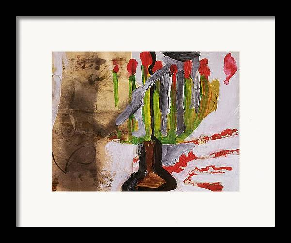 Fine Art Framed Print featuring the painting Menorah by Iris Gill