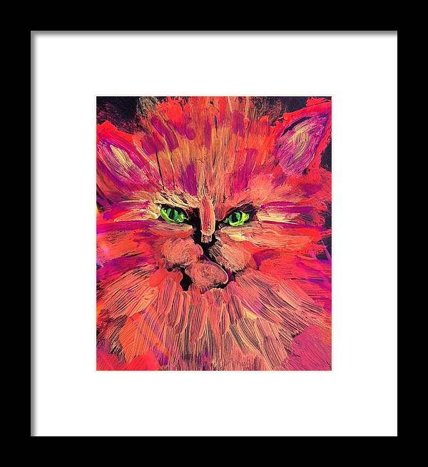 Cat Framed Print featuring the painting Meow by Gail Eisenfeld