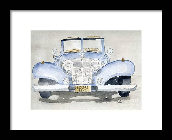 Mercedes Benz Framed Print featuring the painting Mercedes Benz by Eva Ason