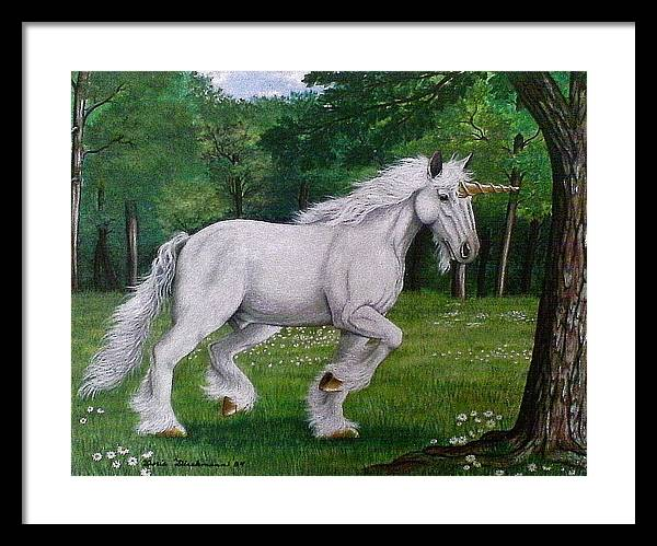 Horse Framed Print featuring the painting Merlin's Unicorn by Doria Dieckmann