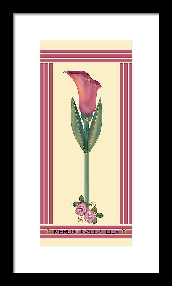 Anne Norskog Framed Print featuring the painting Merlot Calla Lily Banner by Anne Norskog