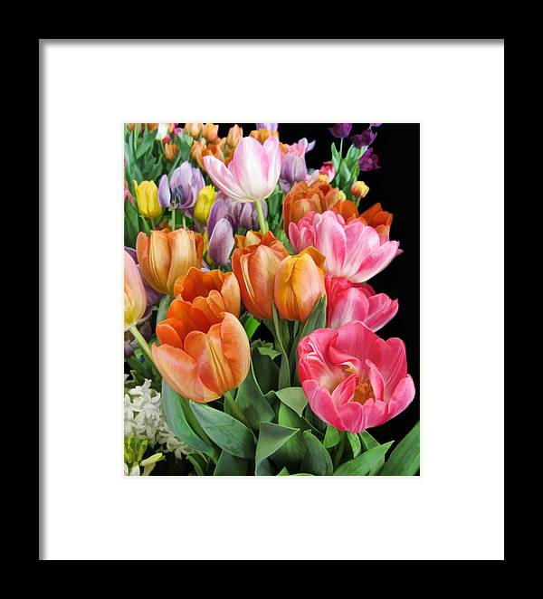 Dresden Style Framed Print featuring the photograph Merry Dresden Style Tulips by Kathy Clark