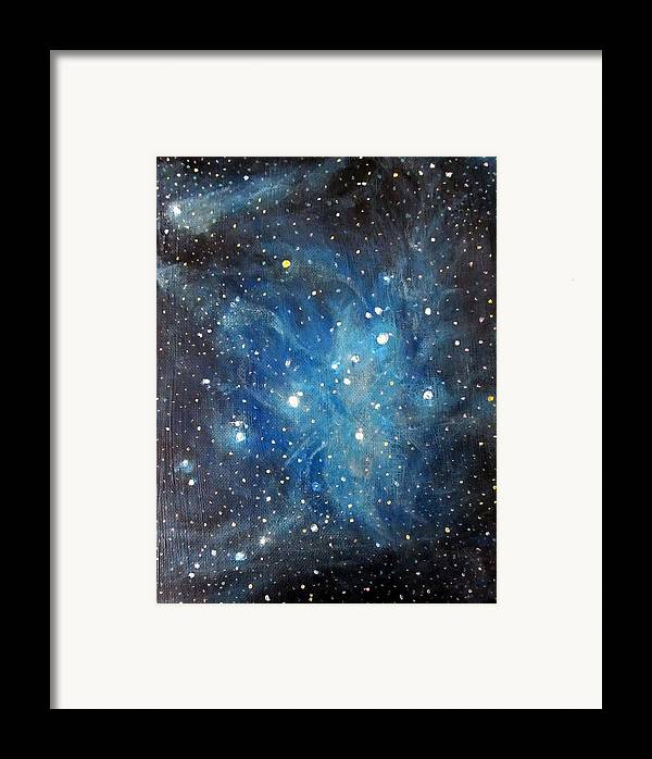 Space Framed Print featuring the painting Messier 45 Pleiades Constellation by Alizey Khan