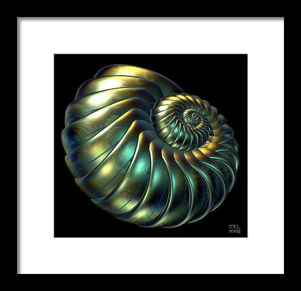 Computer Framed Print featuring the digital art Metallic Nautiloid by Manny Lorenzo