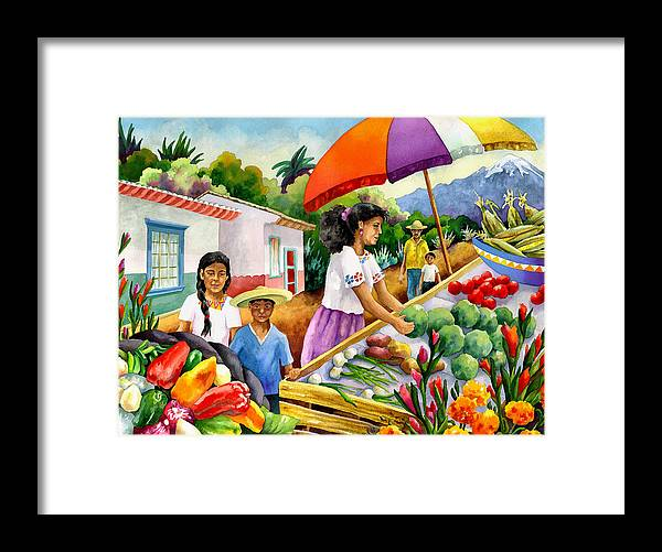 Marketplace Painting Framed Print featuring the painting Mexican Marketplace by Anne Gifford