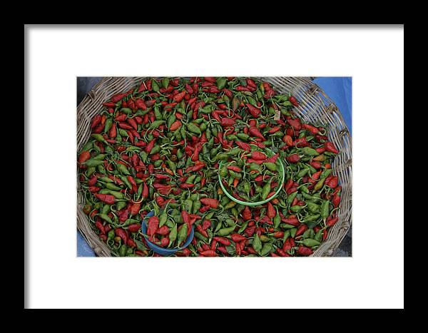 Ocosingo Framed Print featuring the photograph Mexican Peppers At An Open Air Market by Gina Martin