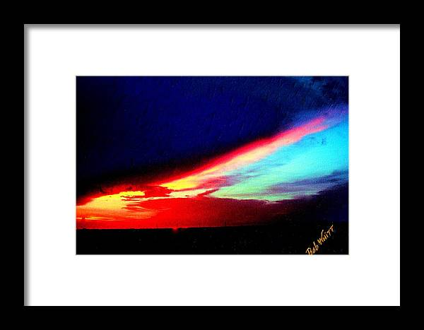 Canvas Photos Framed Print featuring the photograph Miami Western Sky by Bob Whitt