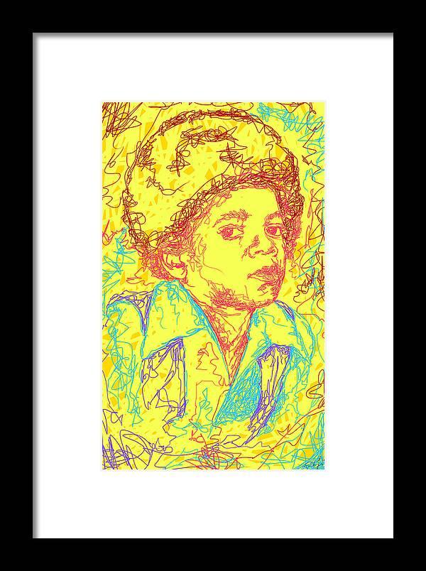 Micheal Jackson Abstraction Framed Print featuring the digital art Michael Jackson Abstraction by Kenal Louis