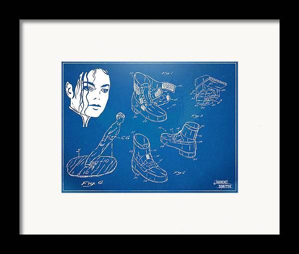 Michael Jackson Framed Print featuring the digital art Michael Jackson Anti-gravity Shoe Patent Artwork by Nikki Marie Smith