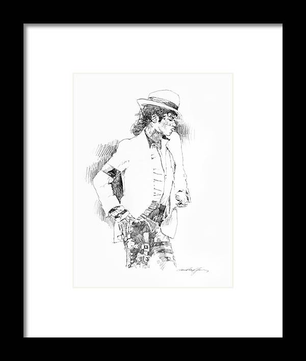 Michael Jackson Drawing Framed Print featuring the painting Michael Jackson Attitude by David Lloyd Glover