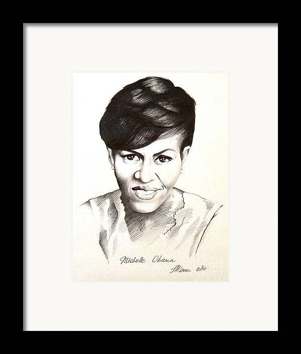 Portrait Framed Print featuring the painting Michelle Obama by A Karron