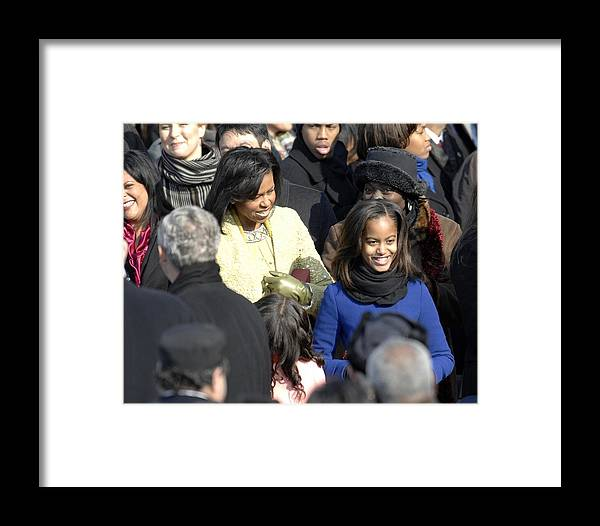 History Framed Print featuring the photograph Michelle Obama And Daughters Malia by Everett