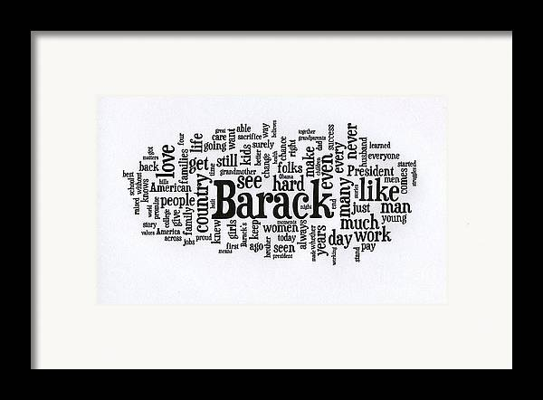 Michelle Obama Framed Print featuring the photograph Michelle Obama Wordcloud At D N C by David Bearden