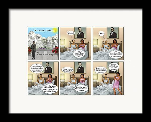 Barack Obama Framed Print featuring the digital art Michelle's Crisis by Kevin Marley