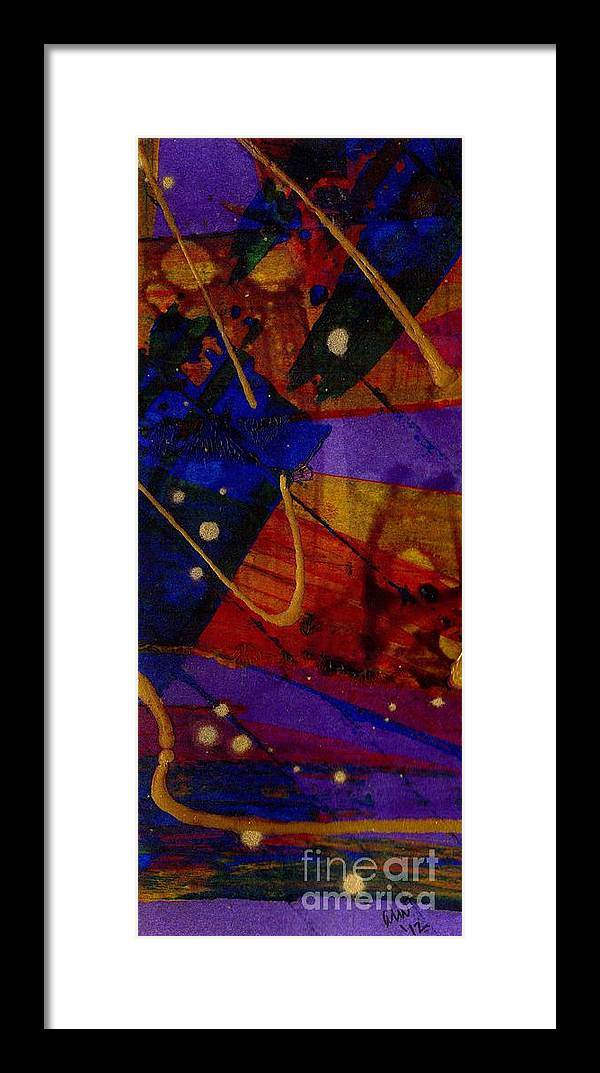 Acrylic Framed Print featuring the painting Mickey's Triptych - Cosmos IIi by Angela L Walker