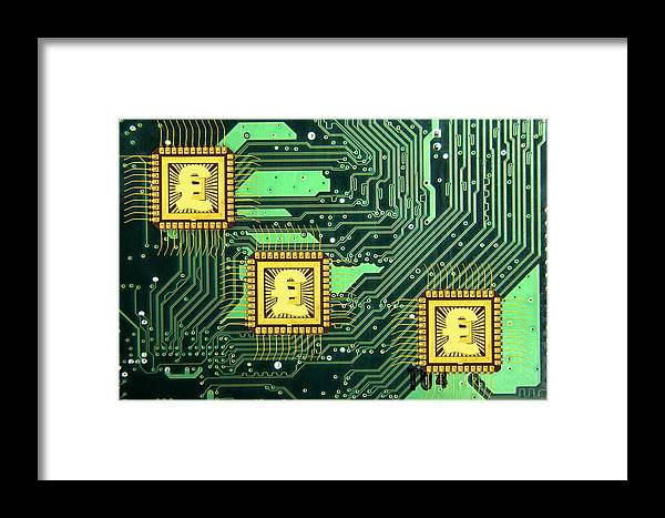 Microchip Framed Print featuring the photograph Microchip Sales, Conceptual Image by Victor De Schwanberg