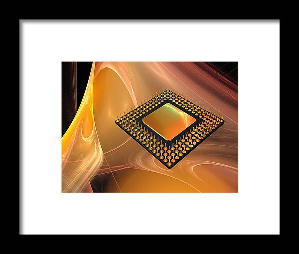 Horizontal Framed Print featuring the digital art Microprocessor Chip, Artwork by Laguna Design