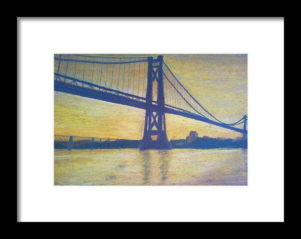 Sunrise Framed Print featuring the painting Mid-hudson Bridge Sunrise by Samuel McMullen