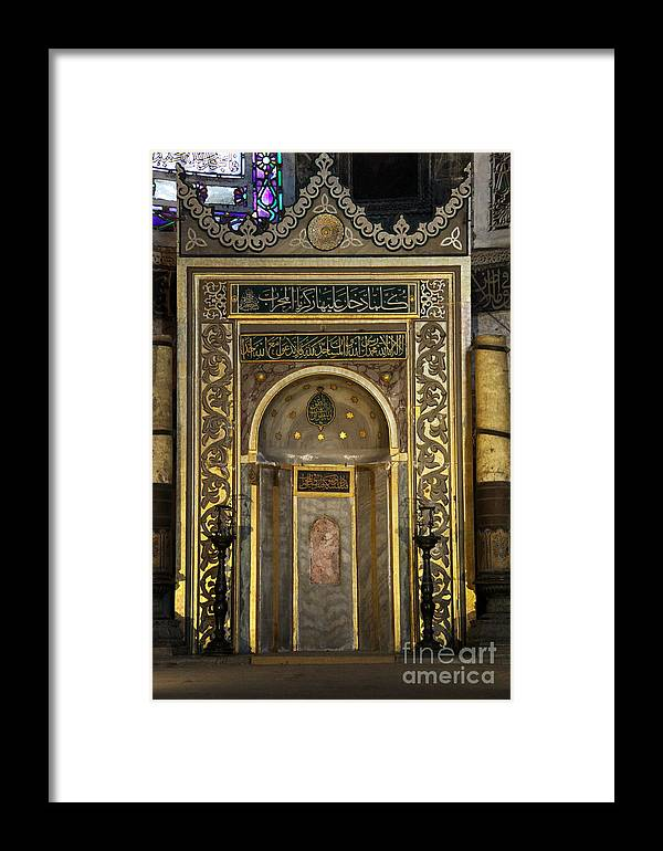 Mihrab Framed Print featuring the photograph Mihrab - Hagia Sophia - Istanbul by Christiane Schulze Art And Photography